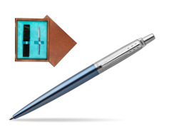 Parker Jotter Waterloo Blue Chrome Colour Trim Ballpoint Pen  single wooden box  Mahogany Single Turquoise