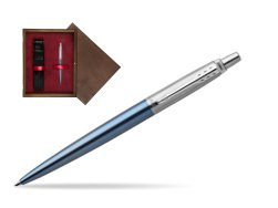 Parker Jotter Waterloo Blue Chrome Colour Trim Ballpoint Pen  single wooden box  Wenge Single Maroon