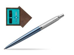 Parker Jotter Waterloo Blue Chrome Colour Trim Ballpoint Pen  single wooden box  Wenge Single Turquoise