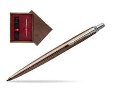 Parker Jotter Premium Carlisle Brown Pinstripe Chrome Colour Trim Ballpoint Pen  single wooden box  Wenge Single Maroon
