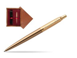 Parker Jotter Premium West End Brushed Golden Finish Trim Ballpoint Pen in single wooden box Mahogany Single Maroon