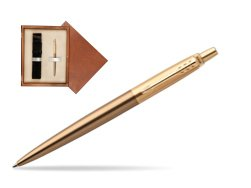 Parker Jotter Premium West End Brushed Golden Finish Trim Ballpoint Pen in single wooden box  Mahogany Single Ecru