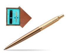 Parker Jotter Premium West End Brushed Golden Finish Trim Ballpoint Pen in single wooden box  Mahogany Single Turquoise