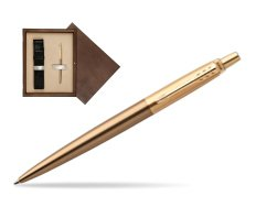 Parker Jotter Premium West End Brushed Golden Finish Trim Ballpoint Pen in single wooden box  Wenge Single Ecru