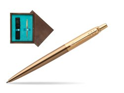 Parker Jotter Premium West End Brushed Golden Finish Trim Ballpoint Pen in single wooden box  Wenge Single Turquoise