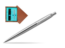 Parker Jotter Stainless Steel Chrome Colour Trim Mechanical Pencil  single wooden box  Mahogany Single Turquoise