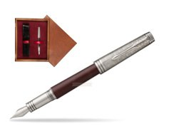 Parker Premier Crimson Red RT T2016 Fountain Pen  single wooden box Mahogany Single Maroon