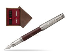 Parker Premier Crimson Red RT T2016 Fountain Pen  single wooden box  Wenge Single Maroon