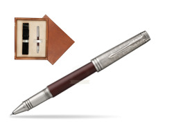 Parker Premier Crimson Red RT T2016 Rollerball Pen  single wooden box  Mahogany Single Ecru