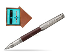 Parker Premier Crimson Red RT T2016 Rollerball Pen  single wooden box  Mahogany Single Turquoise
