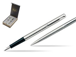 Parker Jotter Stainless Steel CT Fountain Pen + Parker Jotter Stainless Steel CT Ballpoint Pen in special T2016 gift box