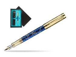 Parker Duofold Limited Edition 130th Anniversary Fountain Pen  single wooden box  Black Single Turquoise