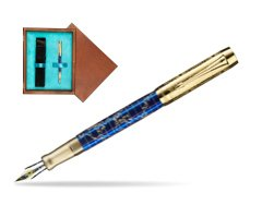 Parker Duofold Limited Edition 130th Anniversary Fountain Pen  single wooden box  Mahogany Single Turquoise
