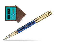 Parker Duofold Limited Edition 130th Anniversary Fountain Pen  single wooden box  Wenge Single Turquoise