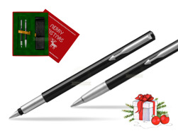 Parker Vector Standard Black Fountain Pen + Parker Vector Standard Black Ballpoint Pen in a Gift Box  Christmas red