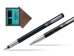 Parker Vector Standard Black Fountain Pen + Parker Vector Standard Black Ballpoint Pen in a Gift Box  double wooden box Wenge Double Turquoise