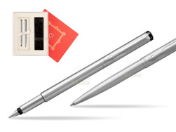 "Parker Vector Stainless Steel CT Fountain Pen + Parker Vector Stainless Steel CT Ballpoint Pen  ""Red Love"""