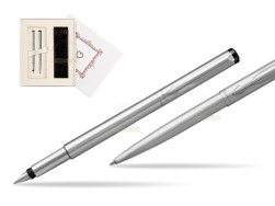 "Parker Vector Stainless Steel CT Fountain Pen + Parker Vector Stainless Steel CT Ballpoint Pen  ""Pure Love"""