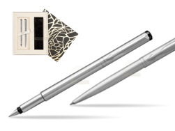 Parker Vector Stainless Steel CT Fountain Pen + Parker Vector Stainless Steel CT Ballpoint Pen  Standard