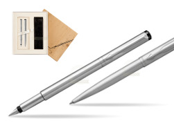 Parker Vector Stainless Steel CT Fountain Pen + Parker Vector Stainless Steel CT Ballpoint Pen in Standard 2