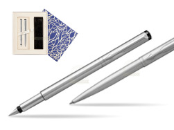 Parker Vector Stainless Steel CT Fountain Pen + Parker Vector Stainless Steel CT Ballpoint Pen  Universal Crystal Blue