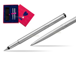 Parker Vector Stainless Steel CT Fountain Pen + Parker Vector Stainless Steel CT Ballpoint Pen  Love