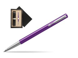 Parker Vector Purple Rollerball Pen  single wooden box  Wenge Single Ecru