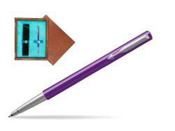 Parker Vector Purple Rollerball Pen  single wooden box  Mahogany Single Turquoise