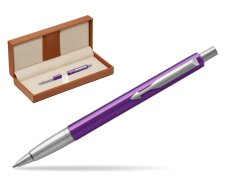 Parker Vector Purple Ballpoint Pen  in classic box brown