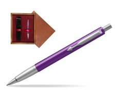 Parker Vector Purple Ballpoint Pen  single wooden box Mahogany Single Maroon