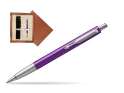 Parker Vector Purple Ballpoint Pen  single wooden box  Mahogany Single Ecru