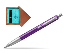 Parker Vector Purple Ballpoint Pen  single wooden box  Mahogany Single Turquoise
