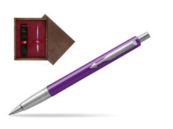 Parker Vector Purple Ballpoint Pen  single wooden box  Wenge Single Maroon