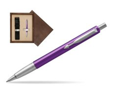 Parker Vector Purple Ballpoint Pen  single wooden box  Wenge Single Ecru