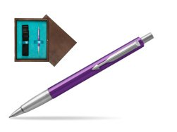 Parker Vector Purple Ballpoint Pen  single wooden box  Wenge Single Turquoise