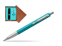 Parker Vector Turquise Ballpoint Pen  single wooden box  Mahogany Single Turquoise