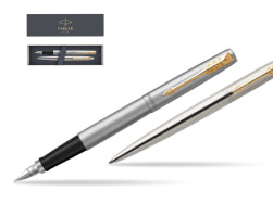Parker Jotter Stainless Steel Chrome Color Trim  GT T2016 Fountain Pen + Ballpoint Pen in a Gift Box