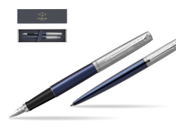 Parker Jotter Royal Blue CT T2016 Fountain Pen + Ballpoint Pen in a Gift Box