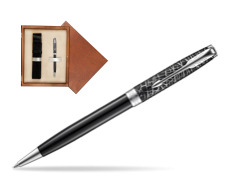 Parker Sonnet Black CT 18K (Metro) Ballpoint Pen  single wooden box  Mahogany Single Ecru