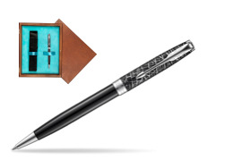Parker Sonnet Black CT 18K (Metro) Ballpoint Pen  single wooden box  Mahogany Single Turquoise