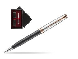 Parker Sonnet Grey Pink PGT 18 K (Strata) Ballpoint Pen  single wooden box  Black Single Maroon