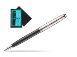 Parker Sonnet Grey Pink PGT 18 K (Strata) Ballpoint Pen  single wooden box  Black Single Turquoise
