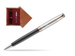 Parker Sonnet Grey Pink PGT 18 K (Strata) Ballpoint Pen  single wooden box Mahogany Single Maroon