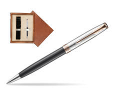 Parker Sonnet Grey Pink PGT 18 K (Strata) Ballpoint Pen  single wooden box  Mahogany Single Ecru