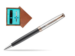 Parker Sonnet Grey Pink PGT 18 K (Strata) Ballpoint Pen  single wooden box  Mahogany Single Turquoise