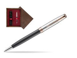 Parker Sonnet Grey Pink PGT 18 K (Strata) Ballpoint Pen  single wooden box  Wenge Single Maroon