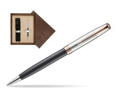 Parker Sonnet Grey Pink PGT 18 K (Strata) Ballpoint Pen  single wooden box  Wenge Single Ecru
