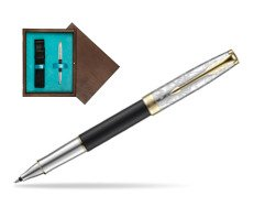 Parker Sonnet Black Gt 18 K (Transit) Rollerball Pen  single wooden box  Wenge Single Turquoise