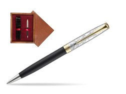 Parker Sonnet Black Gt 18 K (Transit) Ballpoint Pen  single wooden box Mahogany Single Maroon