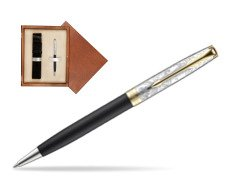 Parker Sonnet Black Gt 18 K (Transit) Ballpoint Pen  single wooden box  Mahogany Single Ecru